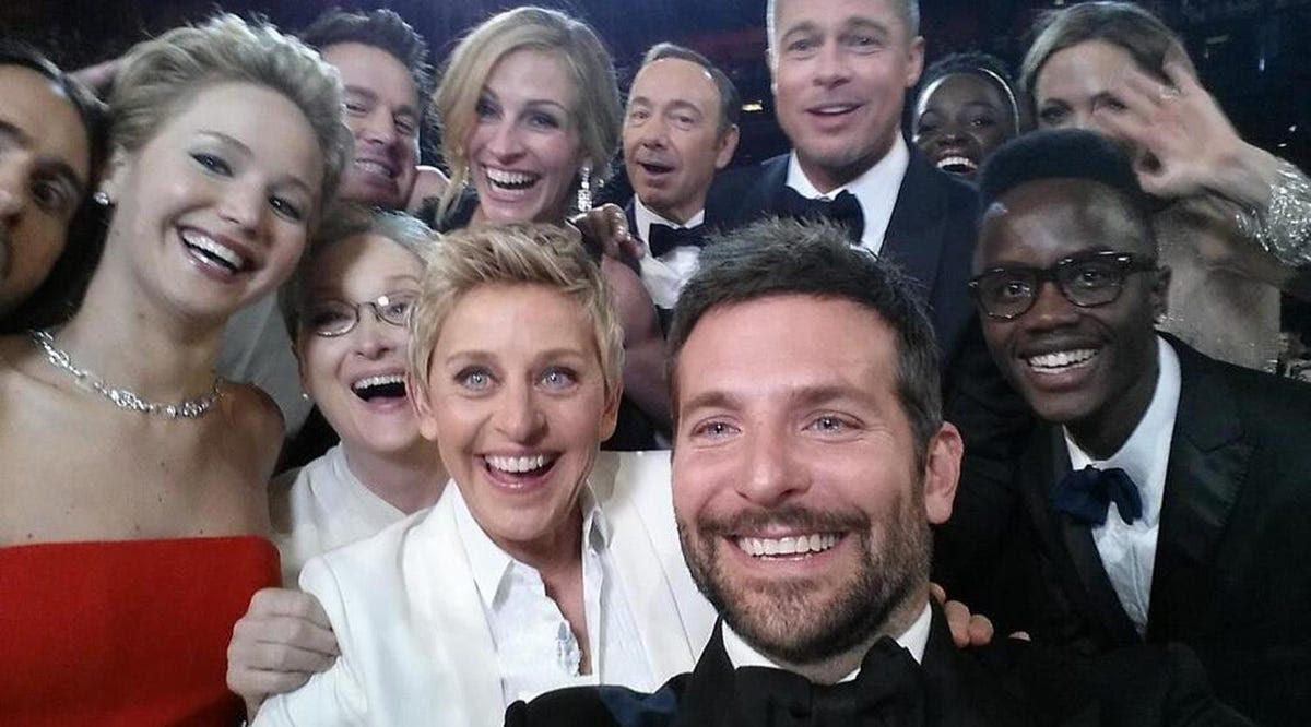 He also — just barely — made it into host Ellen DeGeneres' infamous Oscar selfie.