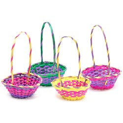 Multi-Colored Round Bamboo Basket