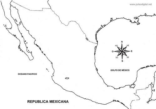 Mapa de Mexico sin division politica
