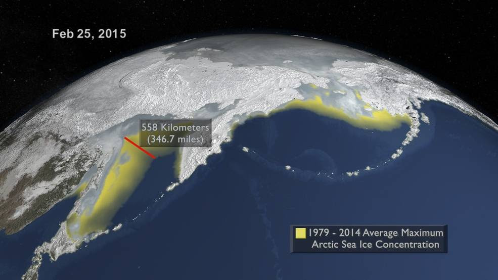 depiction of likely Arctic sea ice maximum extent for 2015, on Feb. 25, with historical average indicated in yellow