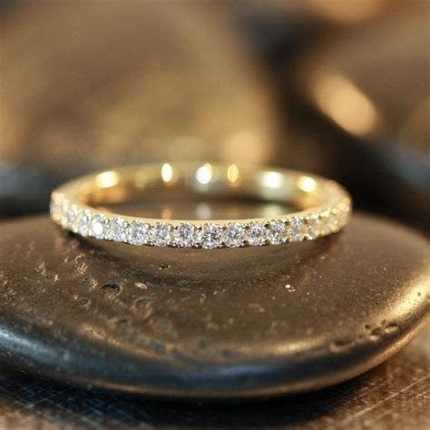 Thin Diamond Wedding Ring 14k Yellow Gold Diamond