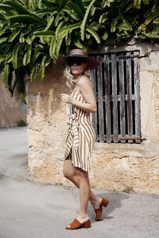 Le Fashion Blog Brown Straw Hat Sunglasses Striped Wrap Dress Camel Heeled Mules Via We The People Style