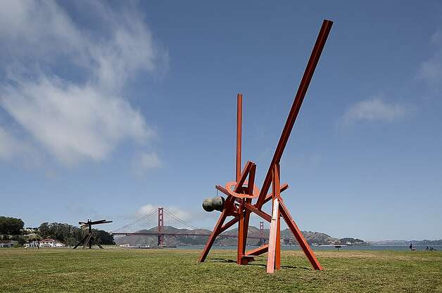 """Figolu"" (2005 11) foreground, ""Huru"" (1984 85) in the background, steel by Mark di Suvero   installation view of ""Mark di Suvero at Crissy Field"" May 22, 2013 May 26, 2014; Photo: Matthew Millman, © Matthew Millman"