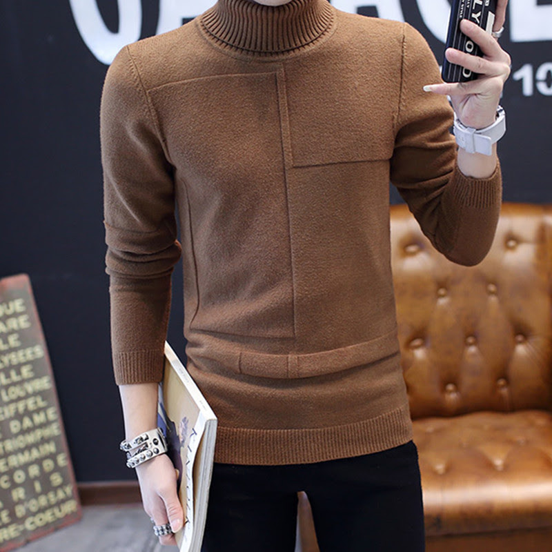 Men sweater Turtleneck male  men sweater pure color coat cultivate one's morality new sweater  mens cardigan sweater