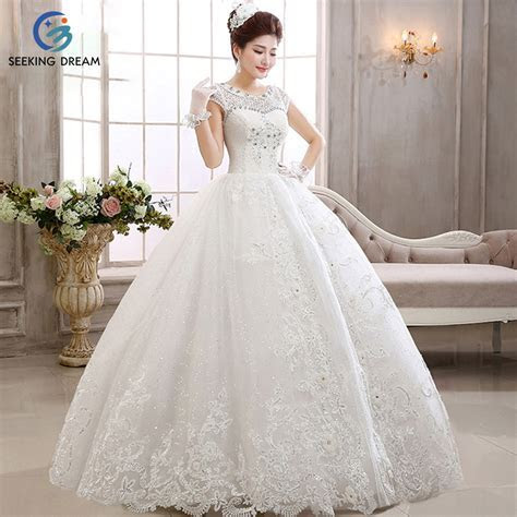 2017 Girl Sexy Ball Gown Dress Lace Ivory White Wedding
