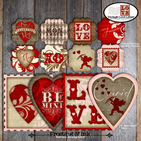 Valentines Day Party - Complete Collection - Toppers, Bunting Banner, Favor Tags & More - Customized Printable (Vintage Inspired) via Etsy