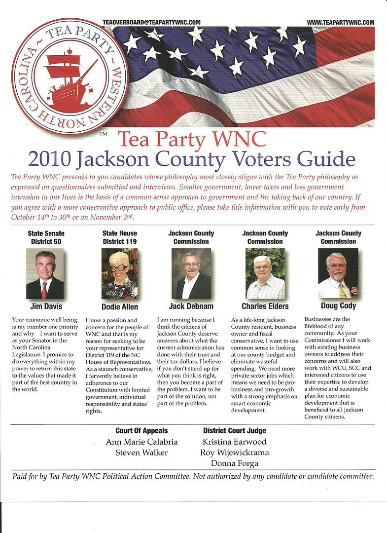 Tea Party WNC 2010 Jackson County Voters Guide