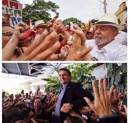 Presidenciáveis são recebidos por multidões: Lula, em Minas Gerais, e Bolsonaro, em Pernambuco. Foto: Ricardo Stuckert (em cima) e Leo Mota/Folha de Pernambuco (em baixo)