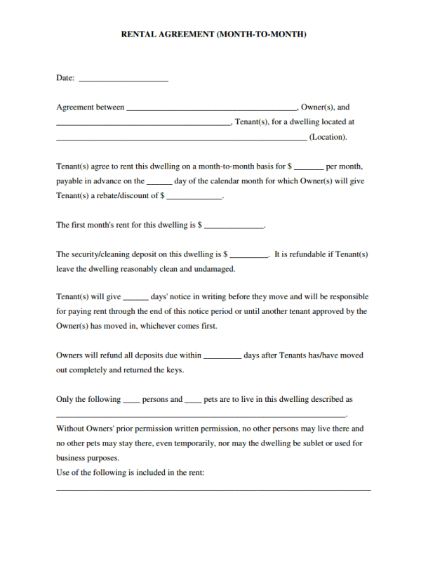 Lease Agreement Template Month To Month Pdf Template