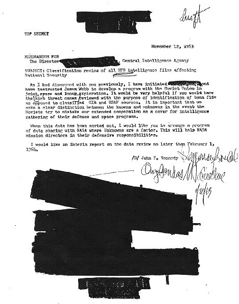 Released: Letter from JFK to CIA director asking for access to UFO files, which has been released to an author under the Freedom of Information Act