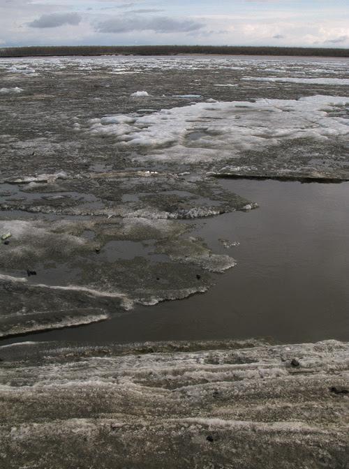 ice on the surface of the Kuskokwim River, Bethel, Alaska