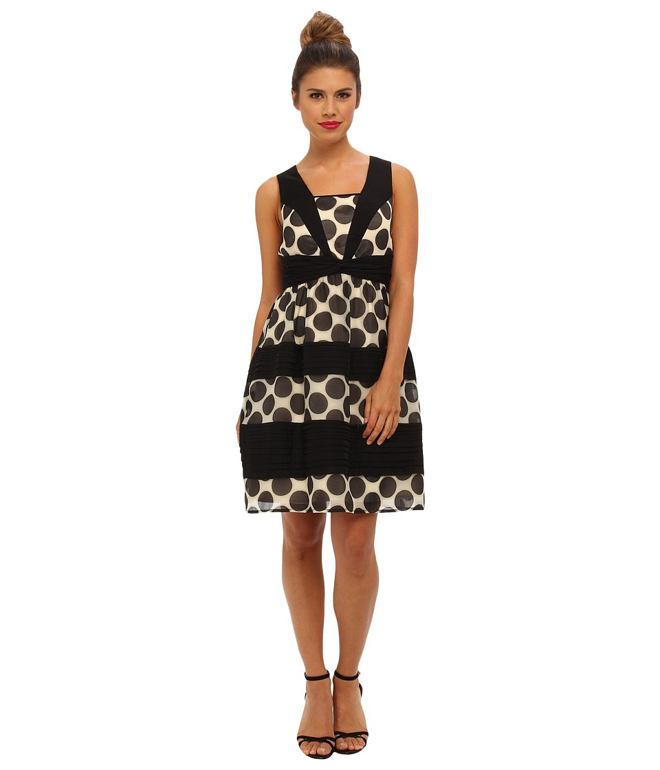 Ivy & Blu Maggy Boutique - Sleeveless Polka Dot Wrap Waist Fit (Ivory\/Black) Women's Dress