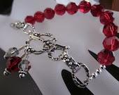 Antiqued Sterling Silver, Swarovski Crystal-Tough Love In Crimson Bracelet