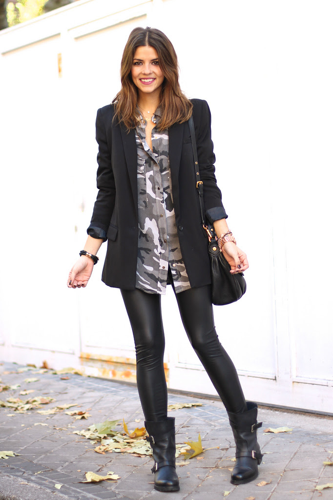 how to wear black leather leggings  lena penteado