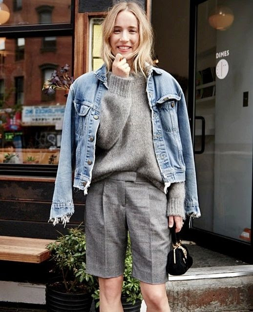 Le Fashion Blog -- Classic Shorts For Fall -- Daphne Javitch In A Denim Jacket, Velvet Bag, Bermuda Shorts And Chunky Knit -- Via JCrew Instagram -- photo Le-Fashion-Blog-Classic-Shorts-For-Fall-Daphne-Javitch-Denim-Jacket-Chunky-Knit-Via-JCrew-Instagram.jpg