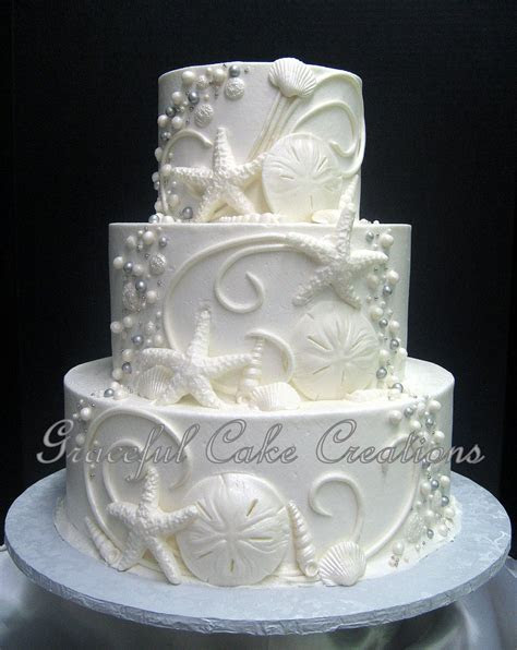 Elegant Beach Themed White Butter Cream Wedding Cake with