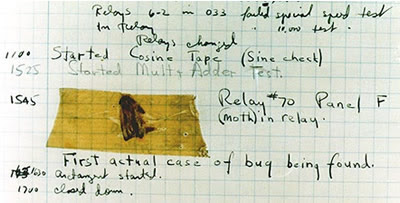 "The above picture is from 1947 and depicts an actual bug that was extracted from the Havard Mark II, an early computer system built at Harvard University (few computers existed throughout the world at this point). The bug is a moth and was trapped between points at ""Relay #70"" and ""Panel F"" and was discovered on September 9, 1947, several months after the computers first realistic tests that July. Many people use this anecdote to explain the etymology of the term ""computer bug"" and ""debugging"" but they are actually incorrect. The term had been used for decades to describe any sort of technical malfunction."