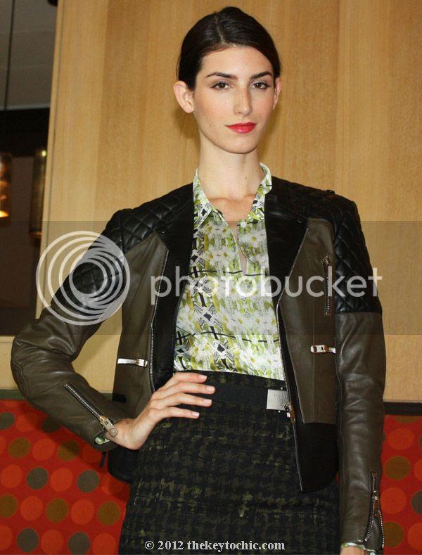 Balenciaga quilted moto jacket, Theyskens Theory printed blouse, Prada fall 2012 skirt