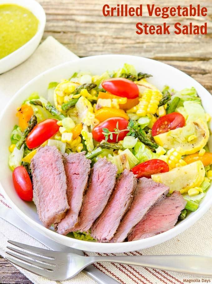 Grilled Vegetable Steak Salad | Magnolia Days