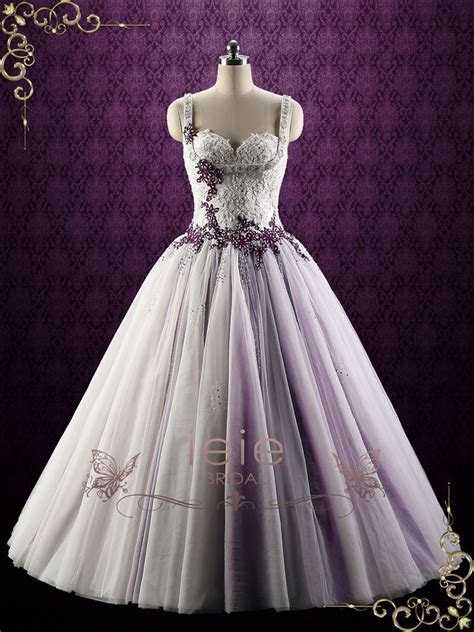 Purple Lace Ball Gown Style Wedding Dress   Violet ? ieie