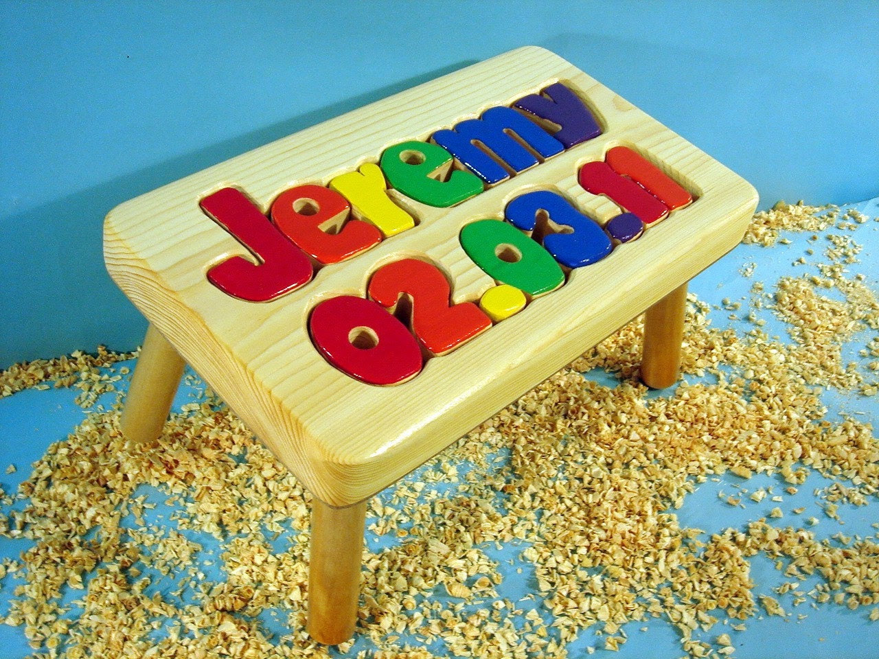 1-8 Letter Birthday Stool  natural finish