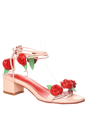 Rose Lace-Up Chunky Heel Sandals - Pink