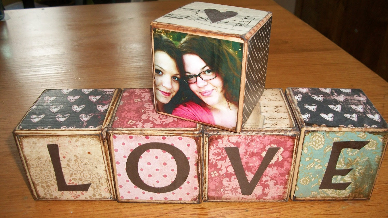 Wooden Blocks with LOVE spelled out and one Photo Block. - TwinDoeFarmCrafts
