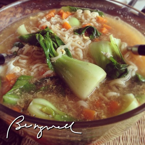 Cooking Noodles with Carrots and Bokchoy