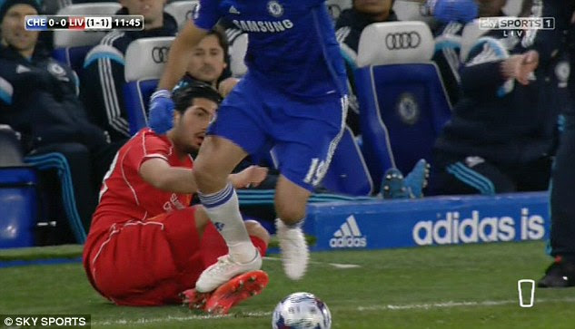 Costa appears to stamp on Can's right leg during a feisty opening period at Stamford Bridge