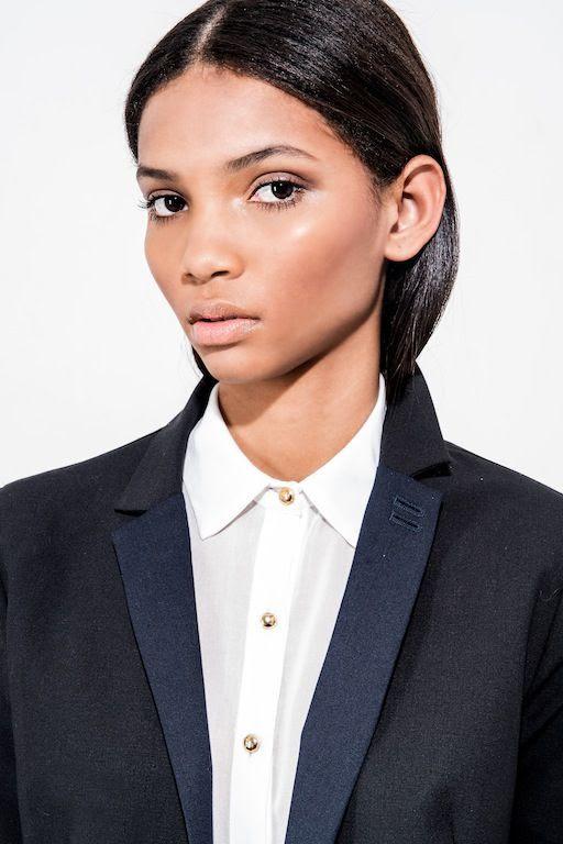 Le Fashion Blog Brazilian Model Lenny Nunes Contour Make Up Bronzed Cheeks Beauty Button Down Shirt Blazer Joy Management