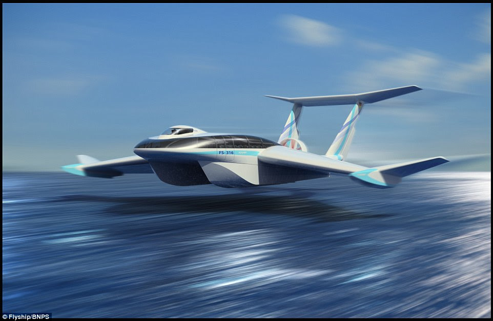 The FlyShip  hovers just above the water level and is capable of reaching speeds over 155mph (250km/h). TheGerman engineering team behind the vehicle believe it is set to revolutionise the way we travel across sea.According to FlyShip, there are a number of potential applications for civilian and governmental use for the craft, including military surveillance, anti-piracy operations and as a speedy ferry