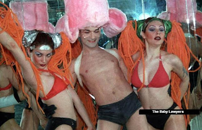 From left to right, Tarkan's girlfriend Bilge Öztürk, Murat Aydın and her sister Belma performing in their dance group 'Baby Lawyers', Antalya, 2001