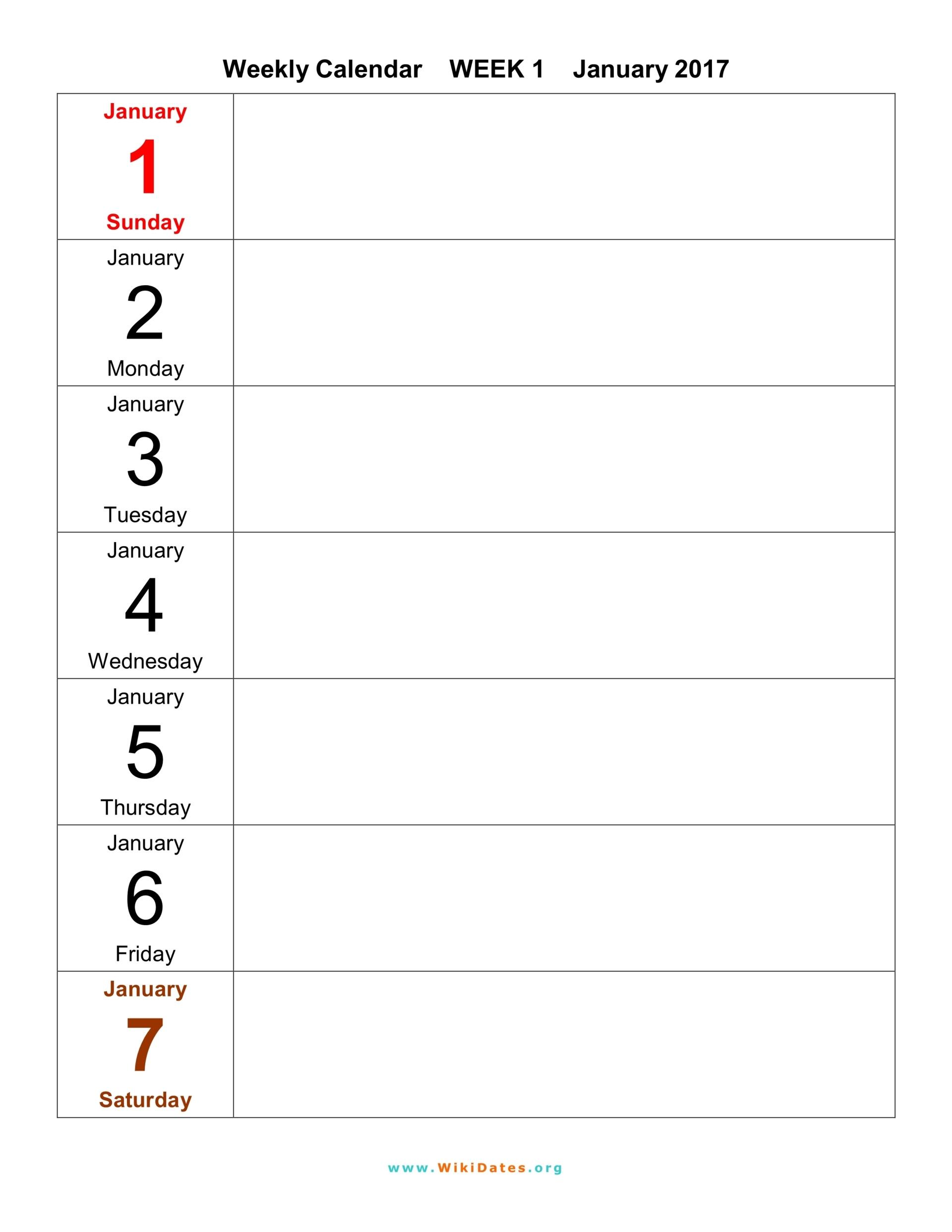 Weekly Calendar 2016 2017 2018   WikiDates.org