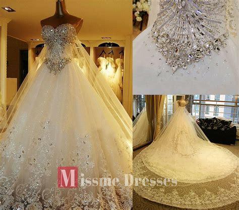 White/Ivory Luxury SWAROVSKI Crystal Cathedral Train Lace