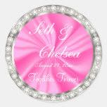 Wedding Day Pink Satin & Faux Diamonds Classic Round Sticker