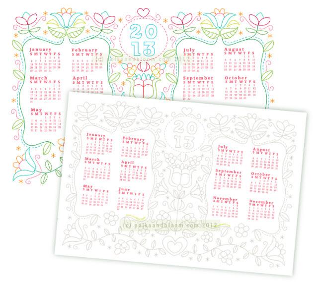 2013 Polka & Bloom calendar preview