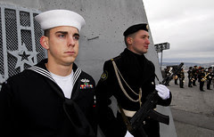 Sailor from Lexington, Md. stands alongside Ru...