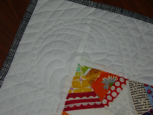 quilting detail on doll quilt received from lolablueocean