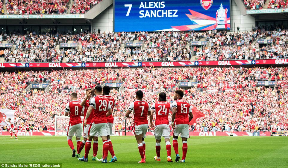 Arsenal's players walk away after congratulating No 7 Sanchez on his precise finish with the outside of his right boot