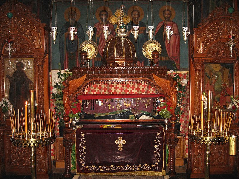 File:Relics of St. Sabbas the Sanctified in the Mar Saba monastery in Palestine.jpg