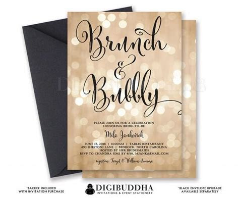 BOKEH BRUNCH & BUBBLY Invitation Champagne Bridal Shower