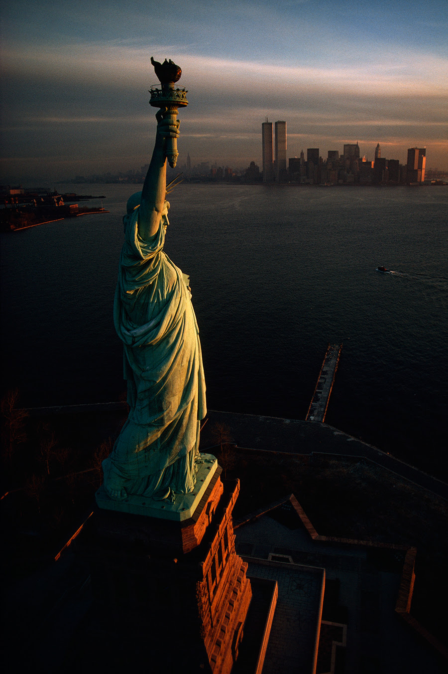 Amazing Aerial Photograph Showing Statue Of Liberty And Twin