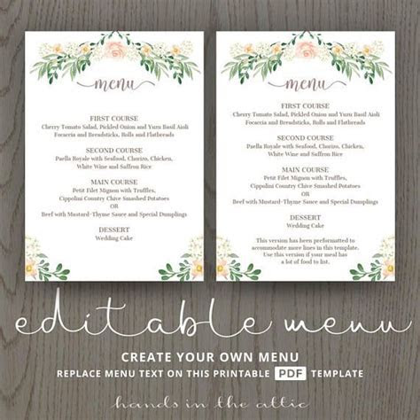 Rustic wedding menu rehearsal dinner menu template, sit
