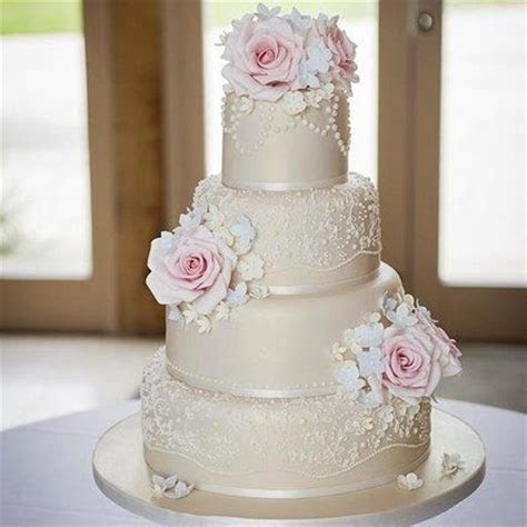 Vintage rose, lace and pearls wedding cake   Cakes