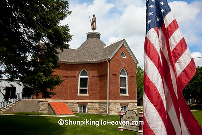 American Flag at G.A.R. Soldiers Memorial Hall, 1889, Hampton, Iowa