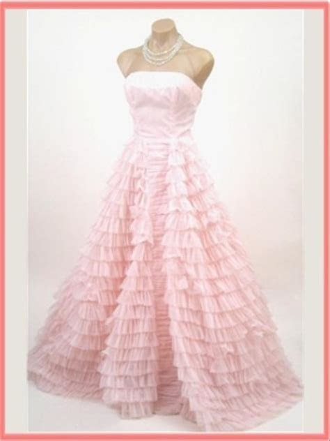 Vintage Light Pink Ruffle Tiered Wedding Gown Wedding