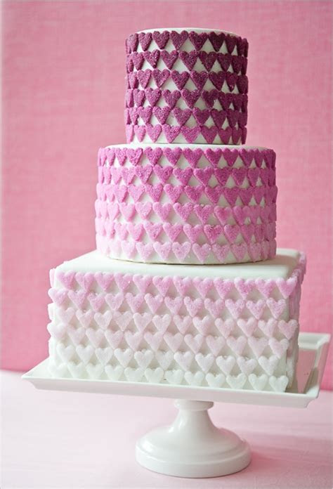 Wedding Cakes Pictures: Ombre Pink Hearts Wedding Cake