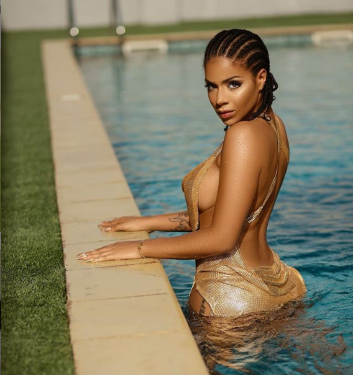 BBNaija's Venita Akpofure flashes her side b00bs in hot pool snaps  star, Venita Akpofure?gets wet in new saucy photos?