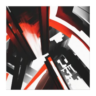 Red Black and White Abstract Stretched Canvas Prints
