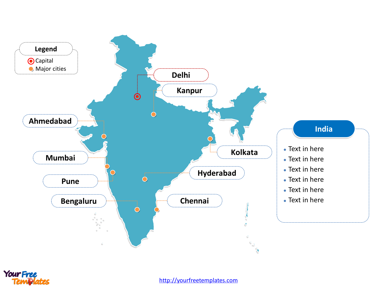 India Map With Major Cities | World Map Gray